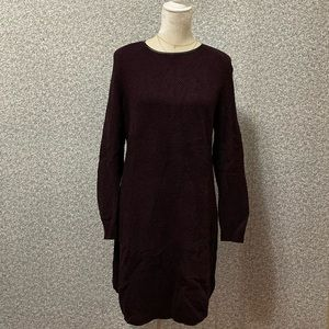 ❤️LOFT Burgundy Black Knit Long Sleeve Dress M❤️